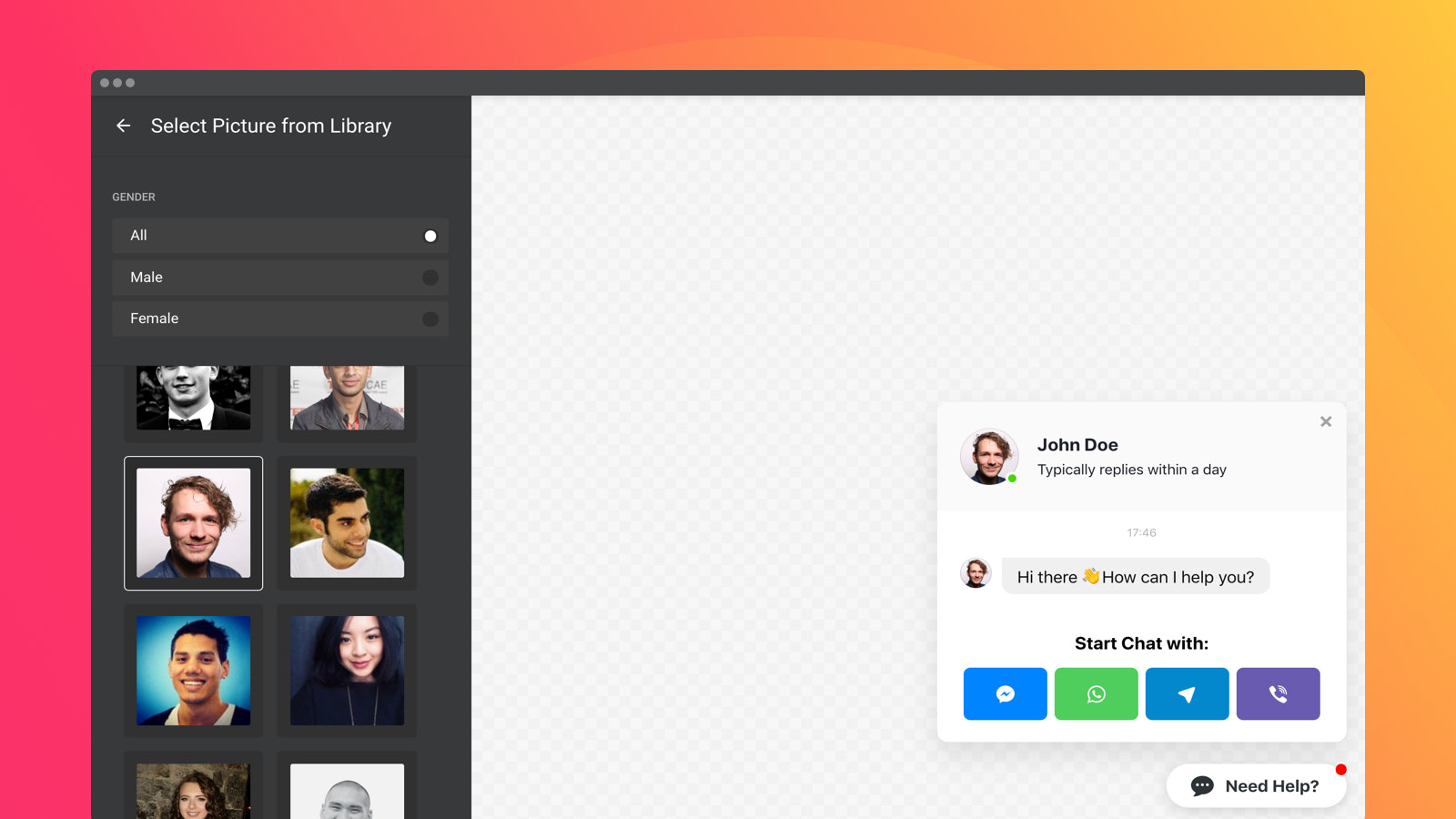 Select the profile photo for your chat or upload your own