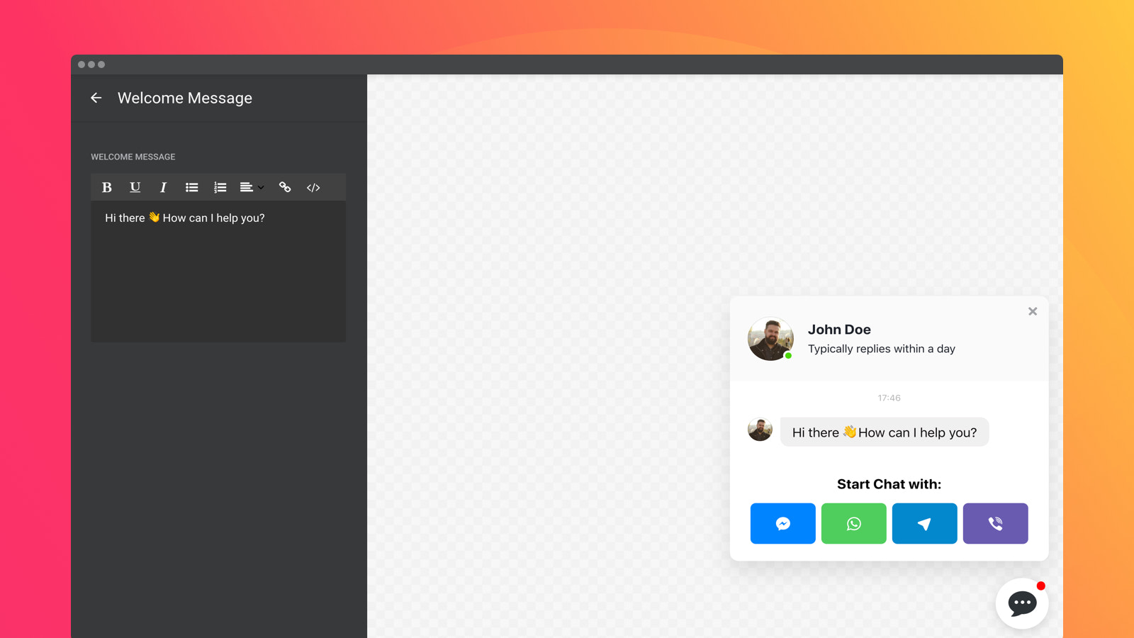 Draw users in chats with the help of engaging welcome message