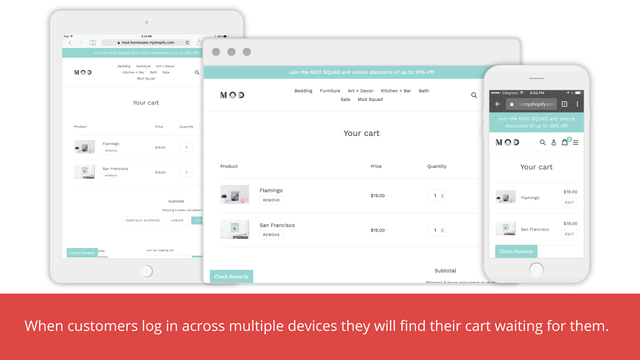 Keep Cart Multiple Device Example