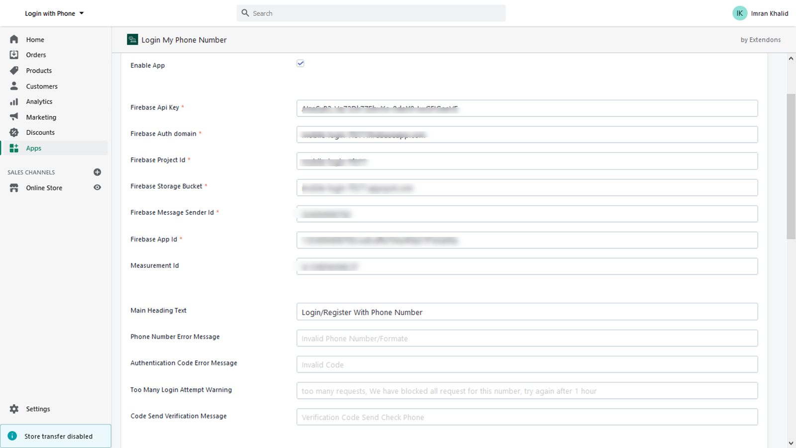 Provide details from Google Firebase Project