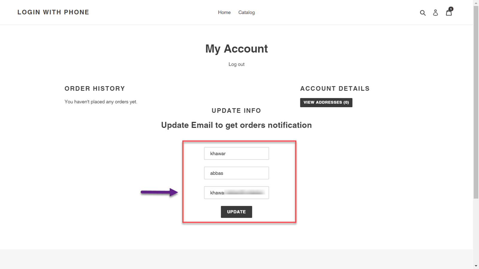 Users can Enter their Email ID on Account Page