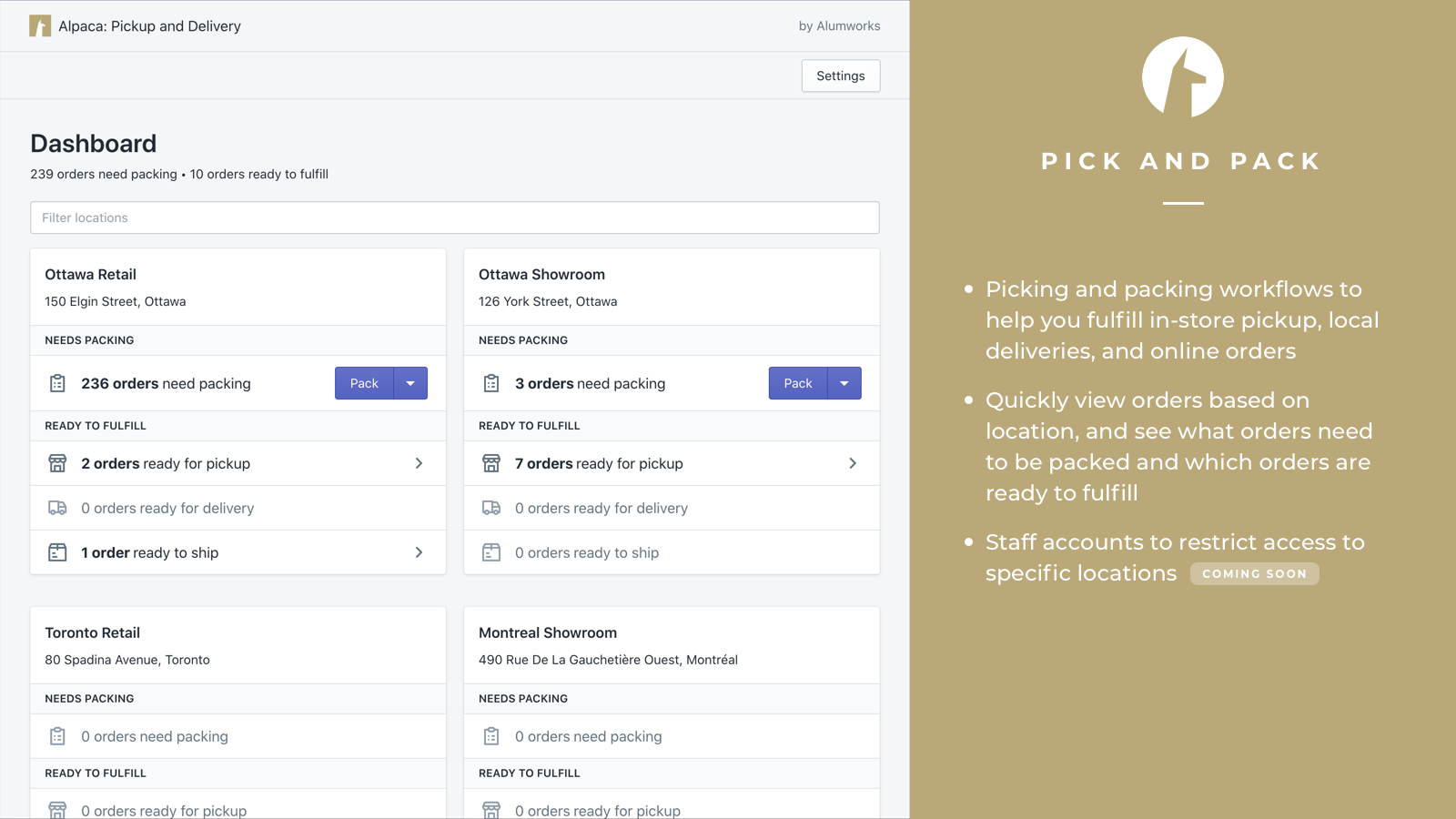 Pick and pack orders with our fulfillment dashboard