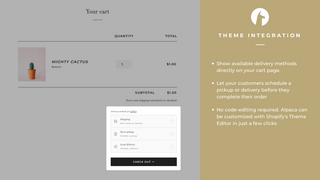 Show delivery methods directly on your cart page. No code needed