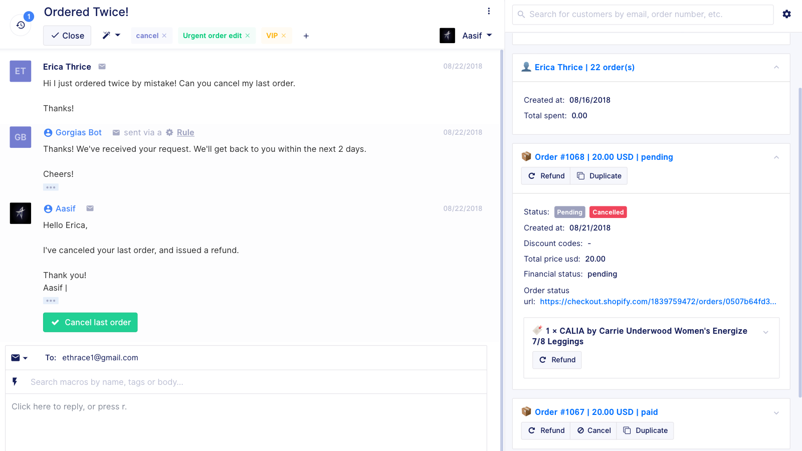 See the complete customer support history from live chat, email