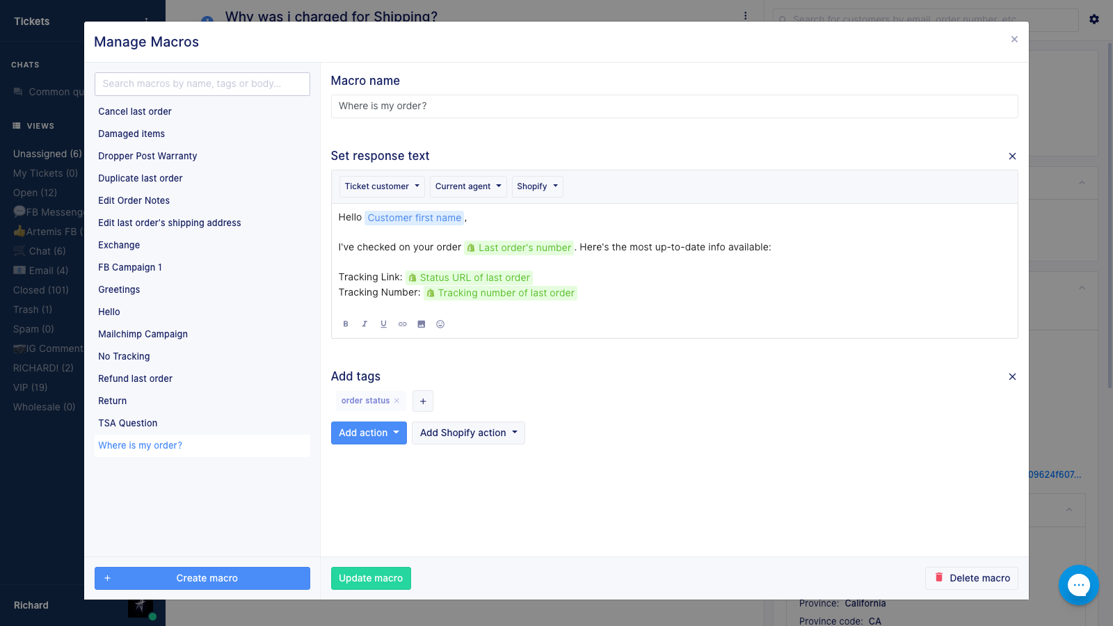 Minimize your ticket response time with macros in your live chat