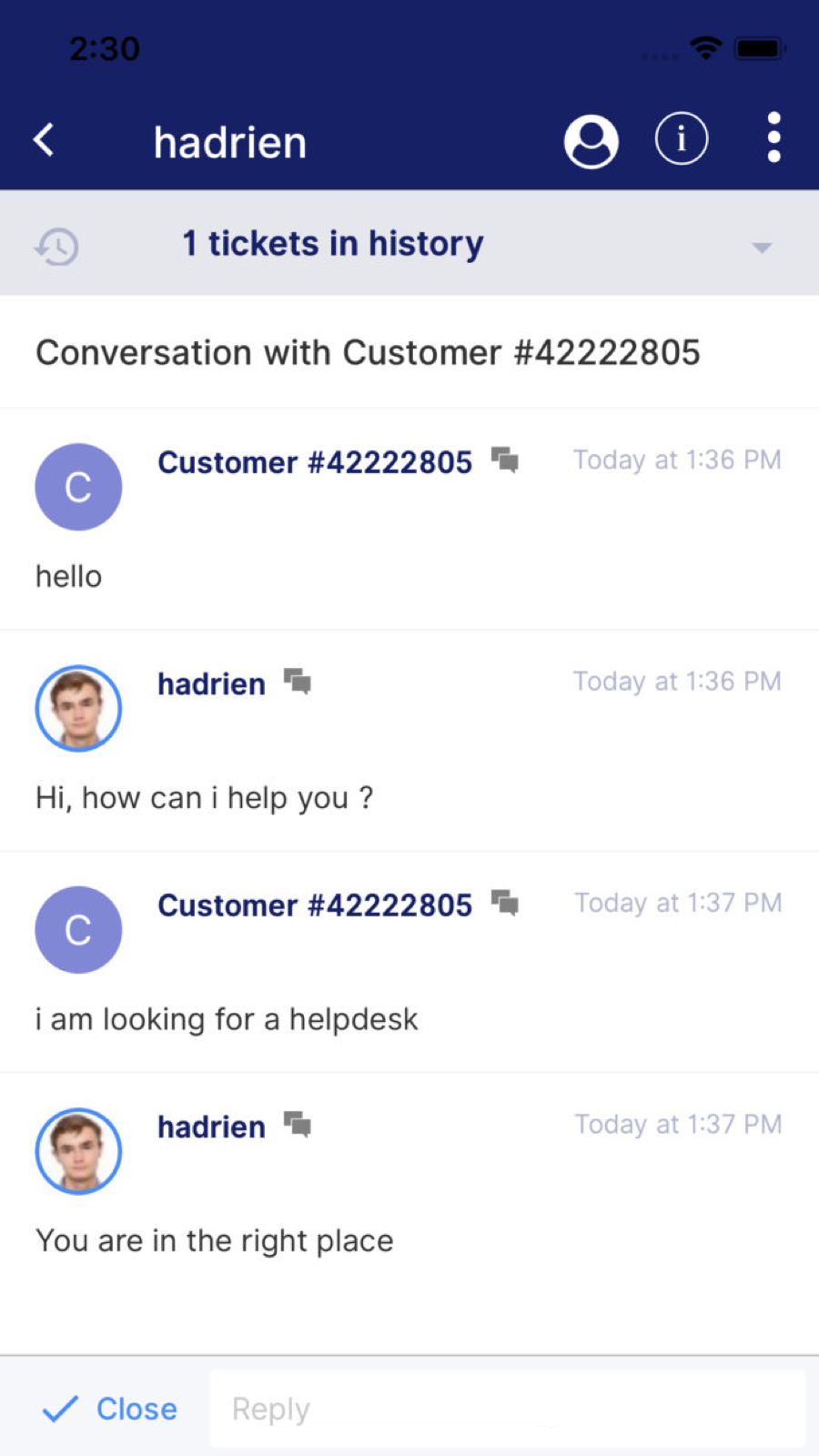 Live Chat with your customer support from anywhere