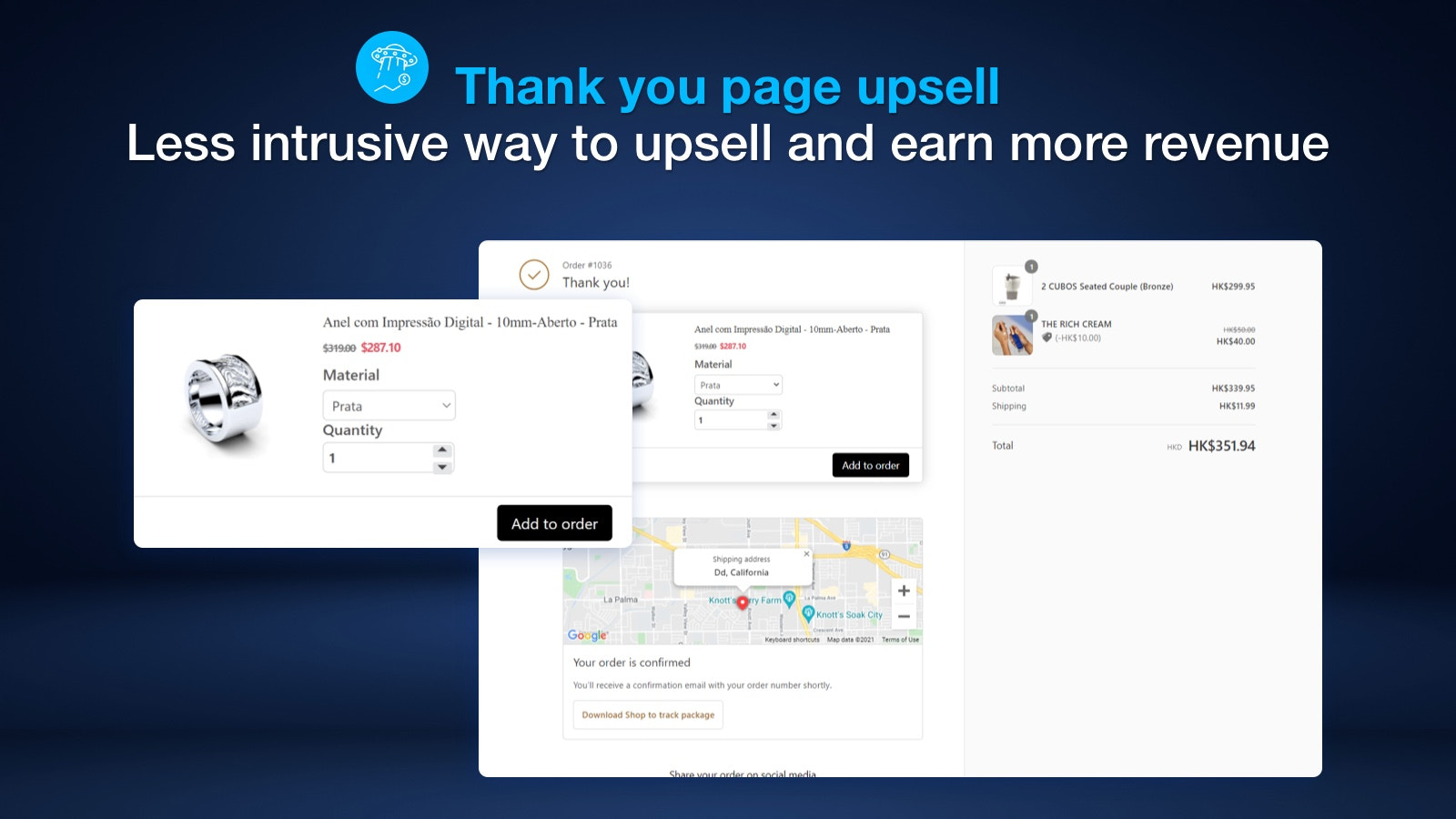 Thank you page upsell