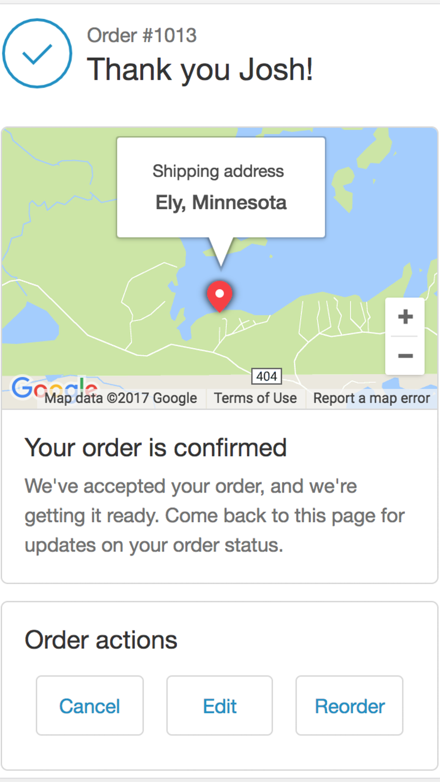 order status page mobile
