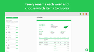 Freely rename each word and choose which items to display