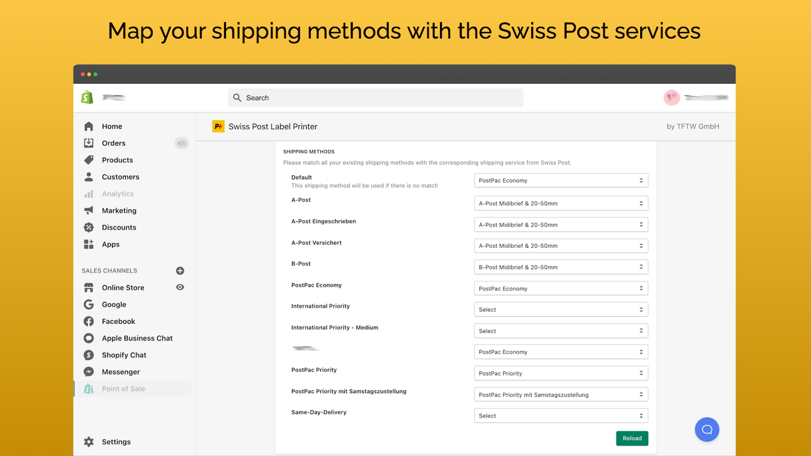 Map your shipping methods with Swiss Post services