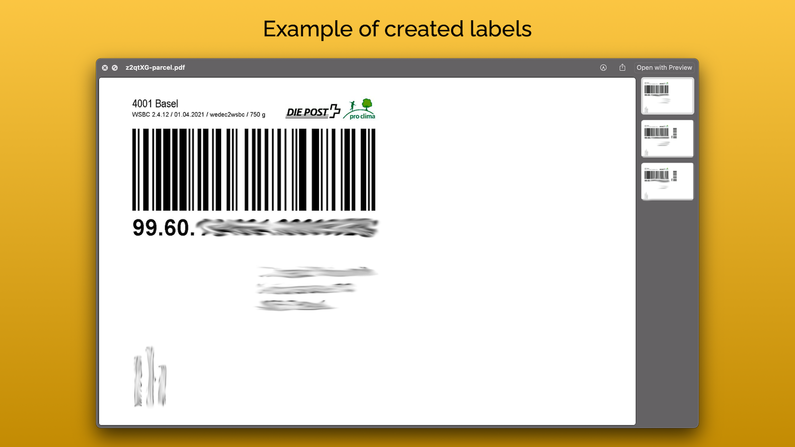 Labels are ready to print. This is how parcel labels look.