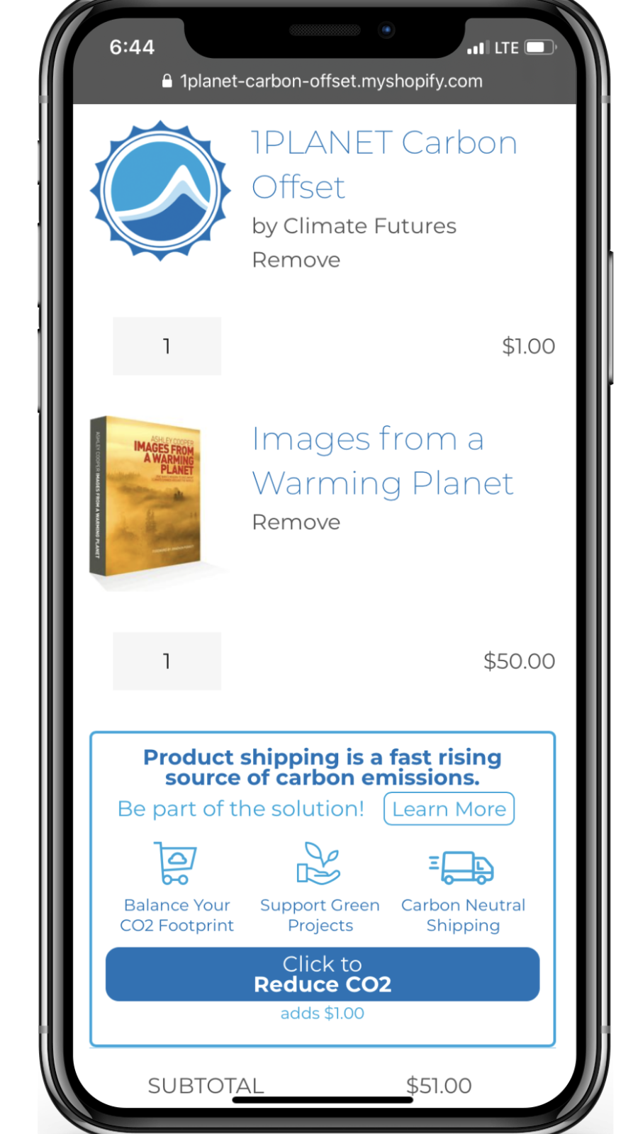 Mobile view of 1PLANET Carbon Offset app widget in the cart.