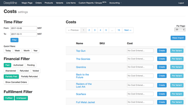 Cost of Goods Page Screenshot