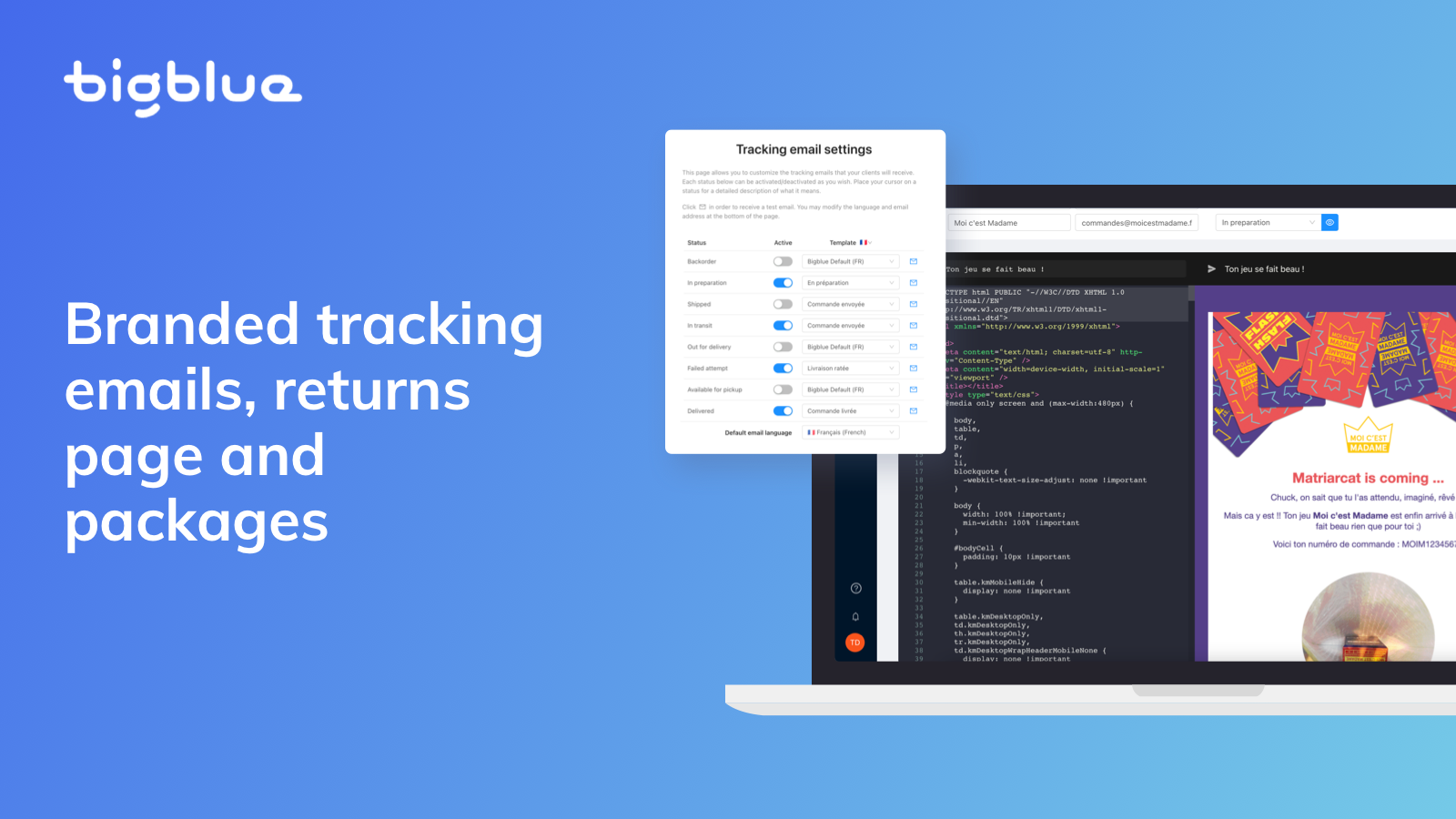 Branded tracking emails, returns page and packages