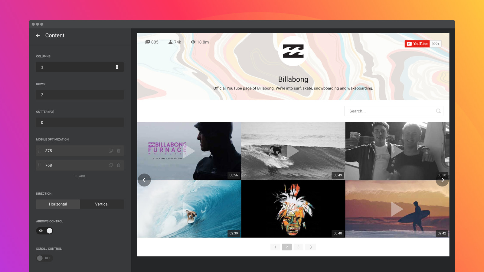 Adjust the content grid, the look of preview, and controls