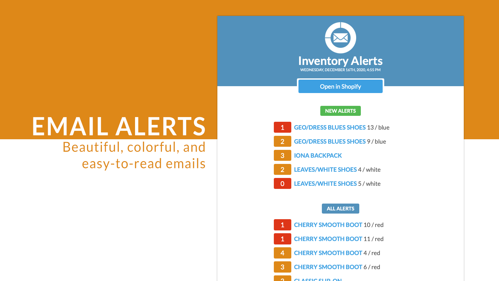 Beautiful, colorful, easy-to-read email alerts.