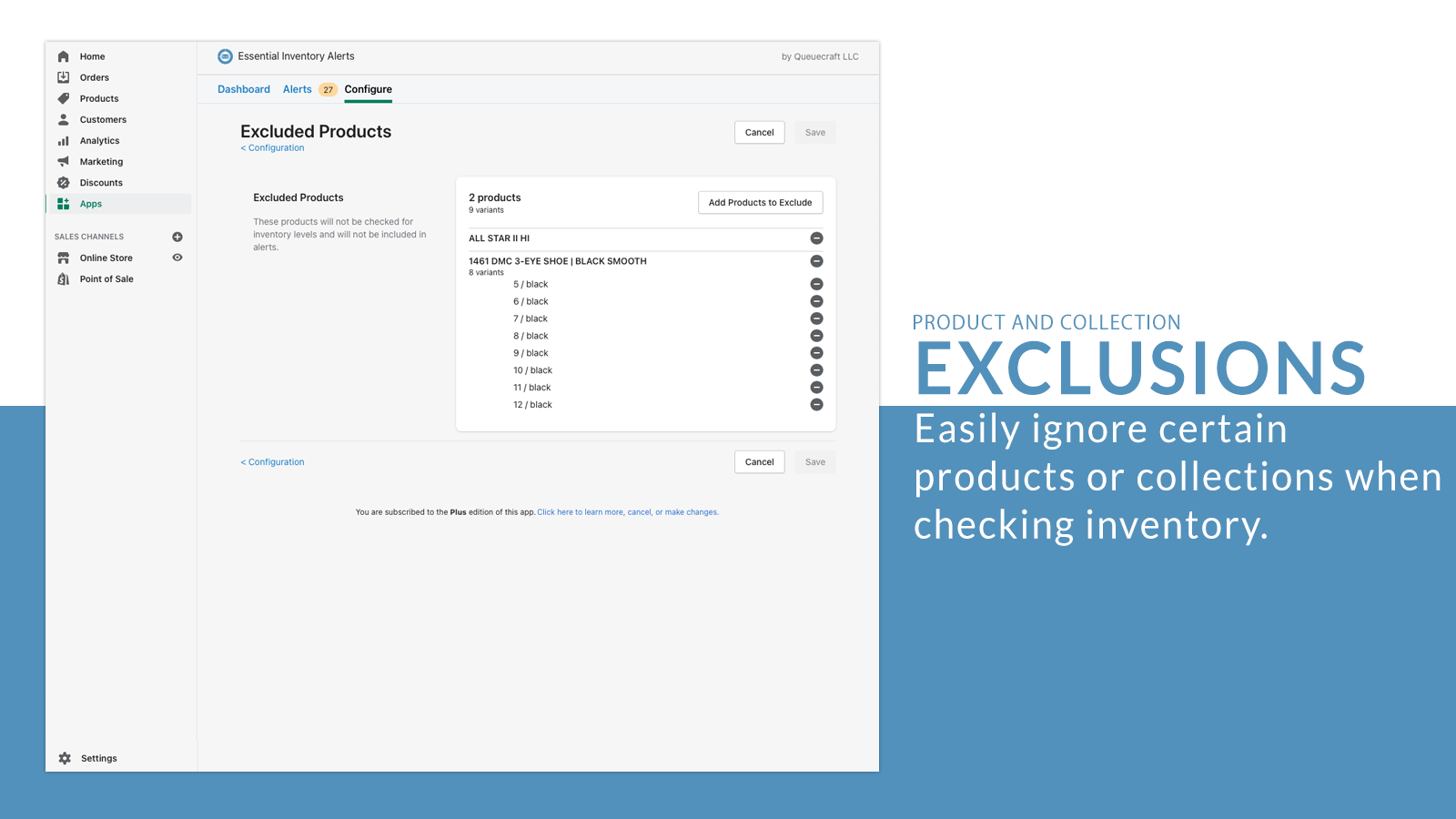 Exclude products and collections from alerts