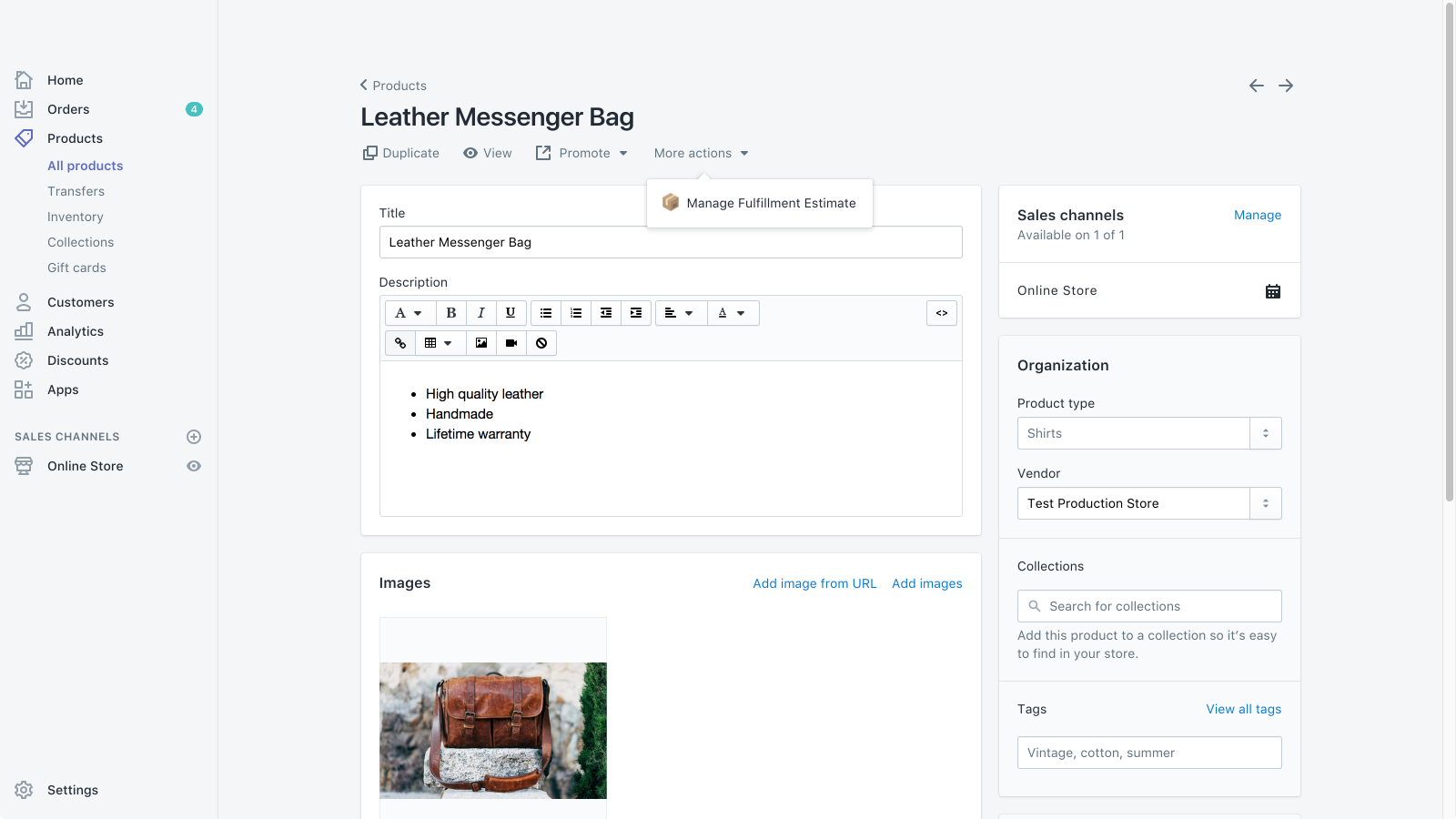 Quickly edit estimates right from your product admin page