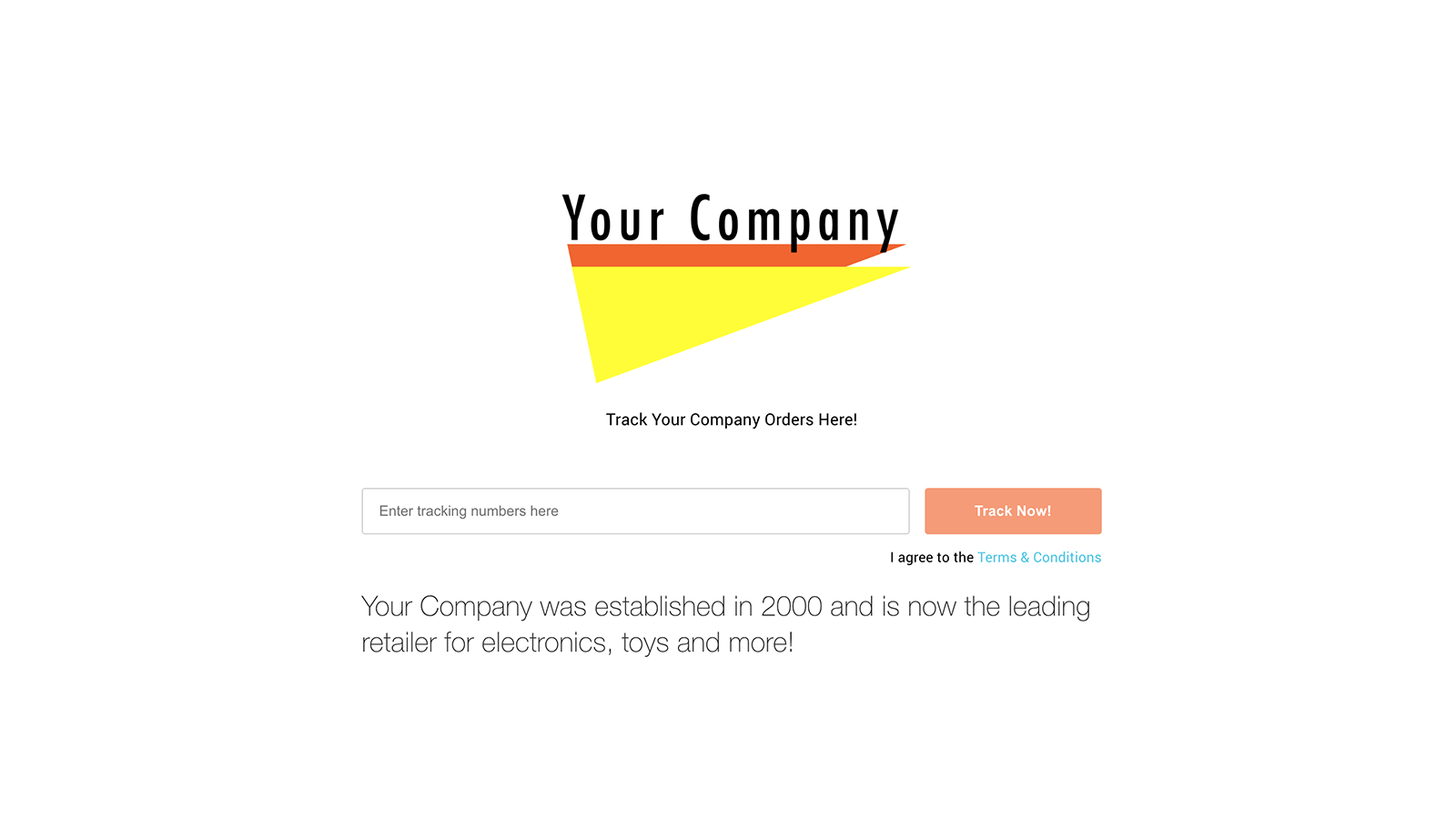 Fully branded tracking experience for customers with a web page