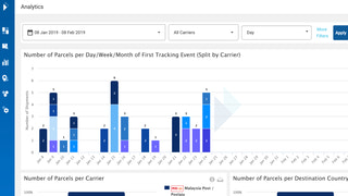 Parcel order delivery tracking analytics as graphs on a customer