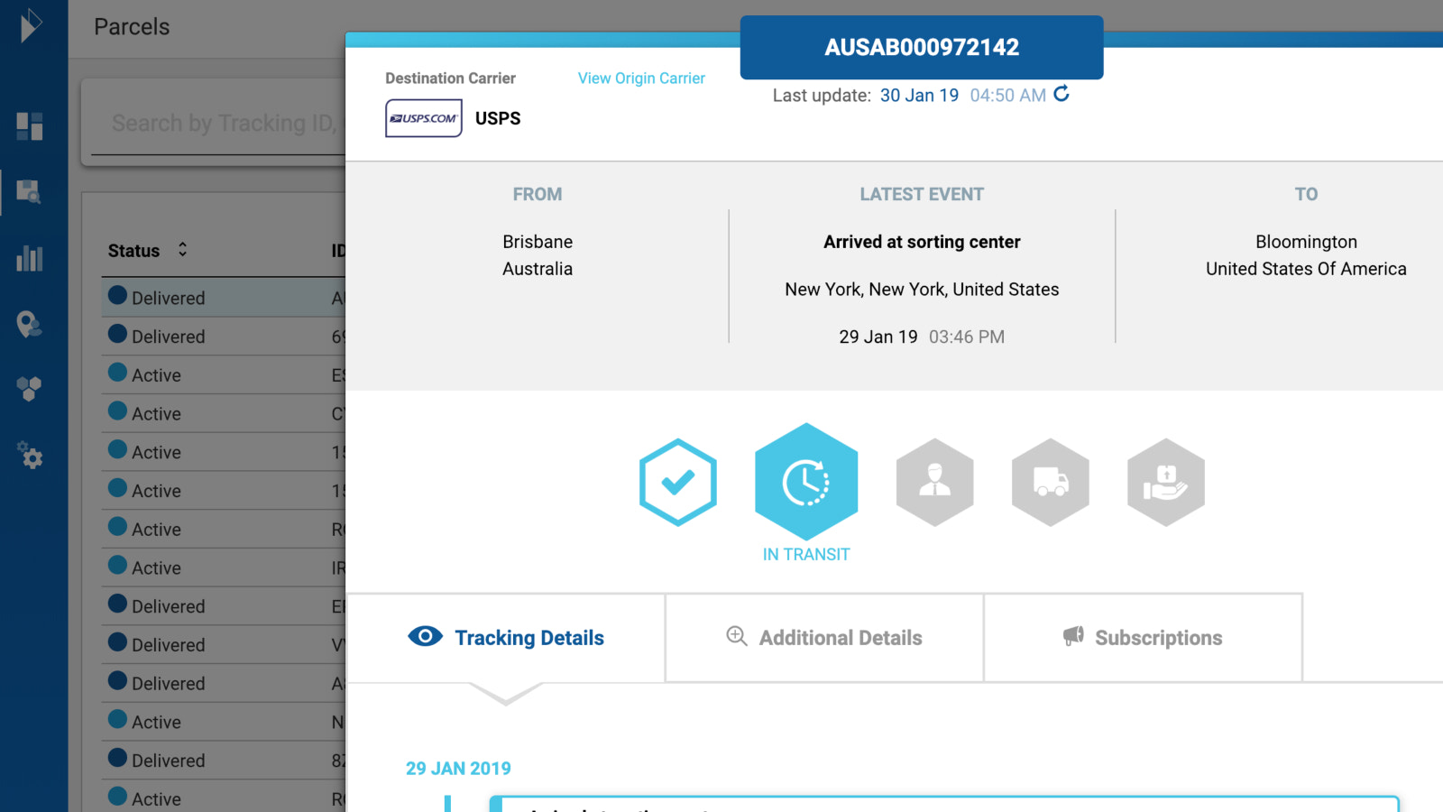 Parcel and order delivery details and track events in a customer