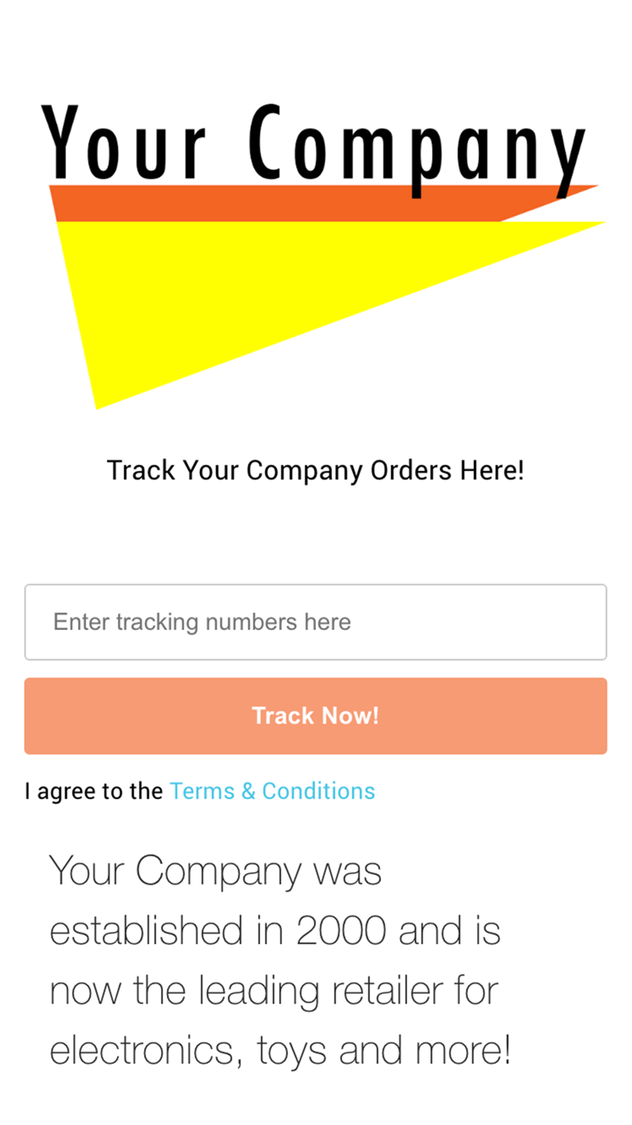 Fully branded tracking experience for customers with a mobile we