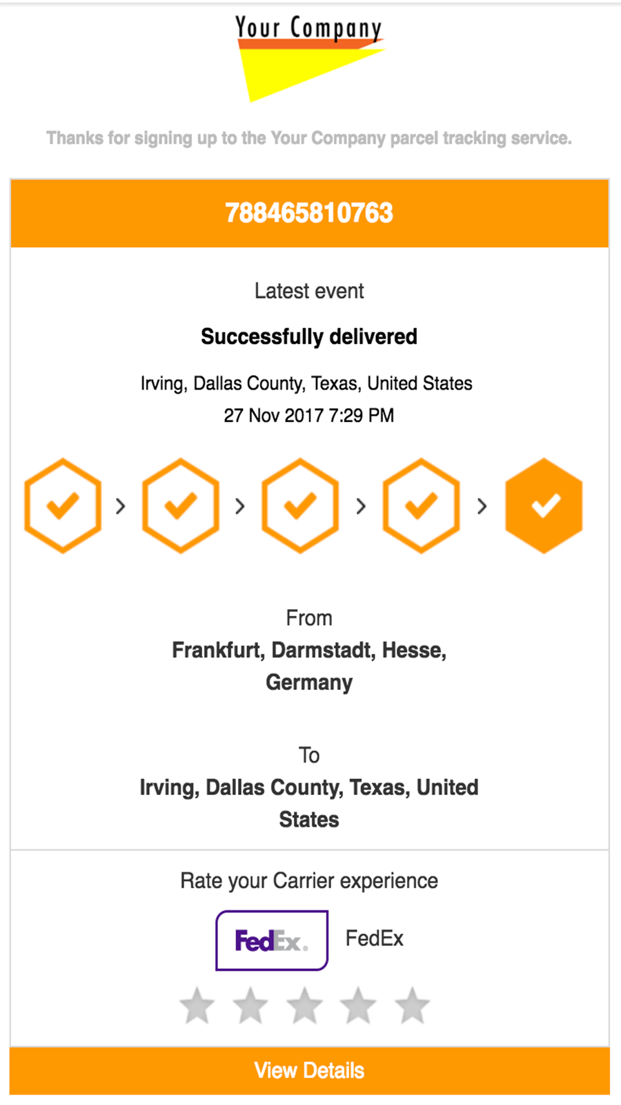 Parcel and order delivery tracking notifications through email f