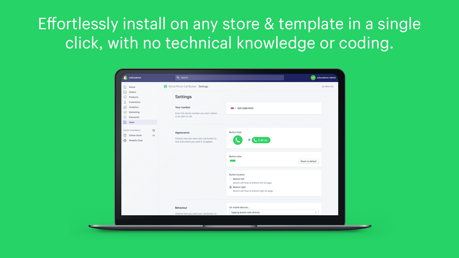 Effortlessly install on any store or template in a single click