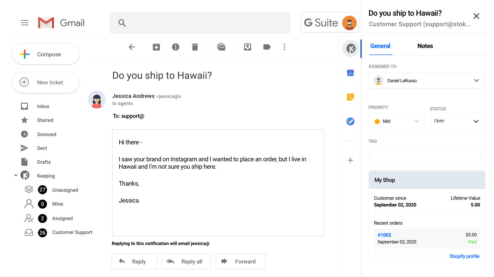 Shopify data right in Gmail with Keeping