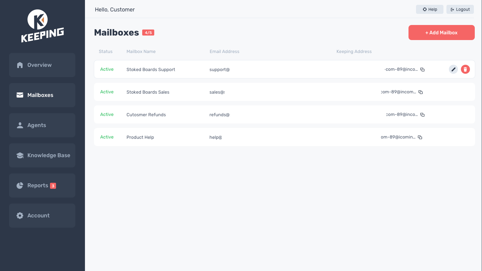 Manage multiple mailboxes with Keeping