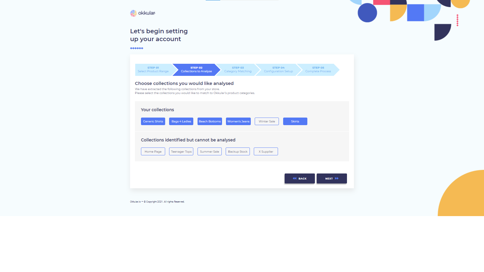 Onboarding Step 2 - Select Collections