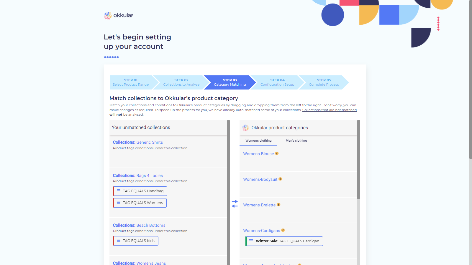Onboarding Step 3 - Product Category Matching
