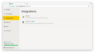 Yeps.io Dashboard: bar integrations