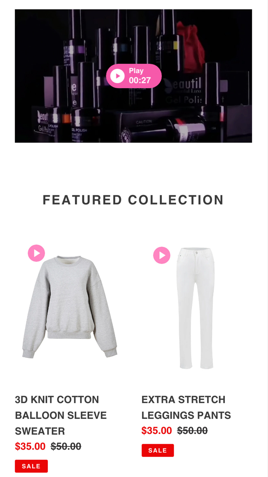 Vimotia Shoppable Video for Shopify - Product Page Player Mobile
