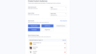 Create Facebook Custom Audiences directly from your products