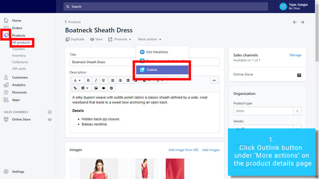 Click Outlink button on product page