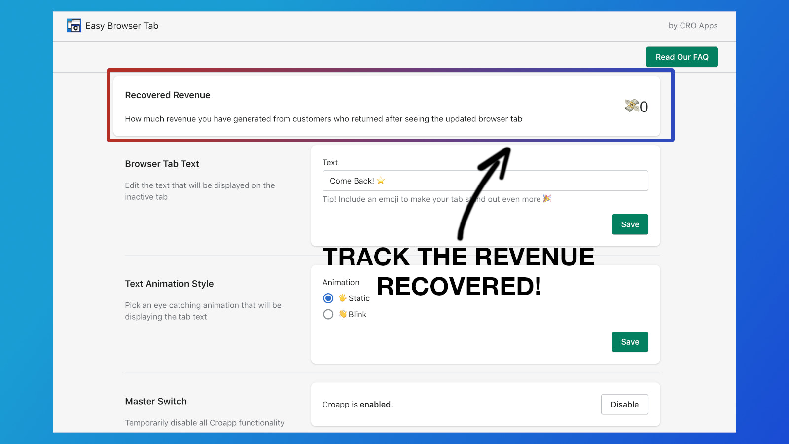 Track the revenue recovered
