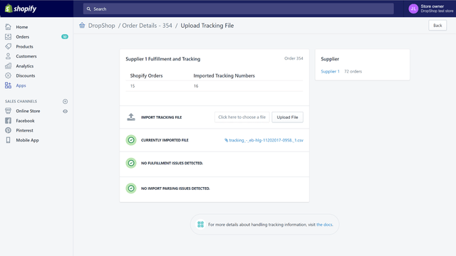 Import csv tracking files into shopify