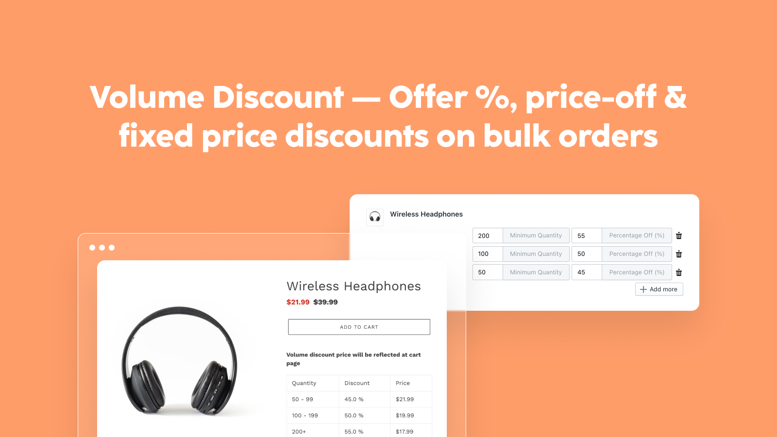Offer %, price-off & fixed price discounts on bulk orders