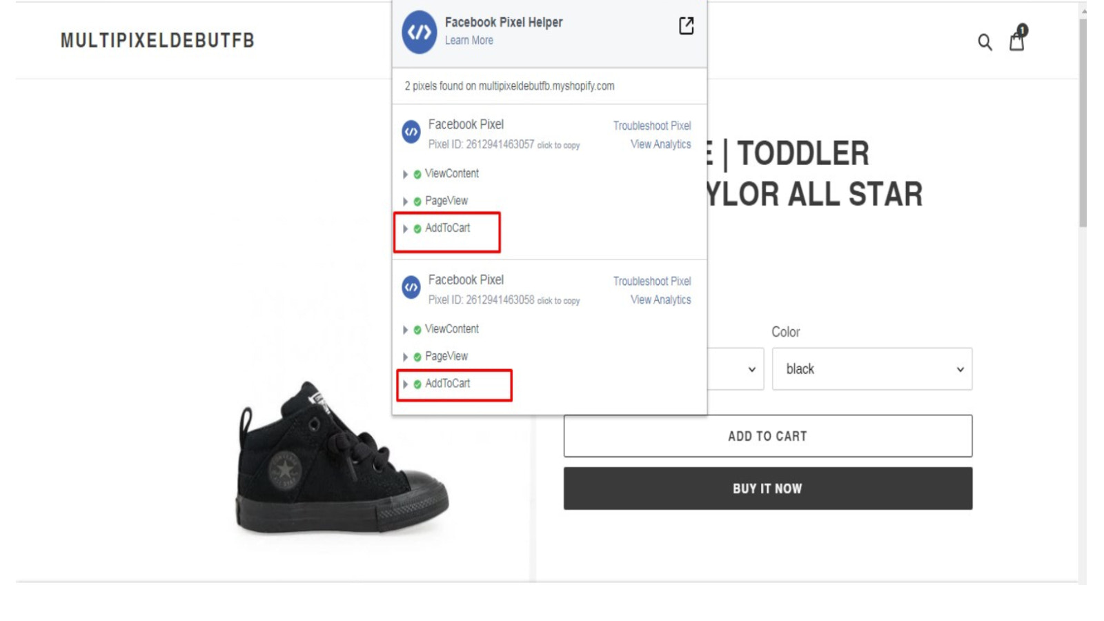Add to cart multiple pixel event