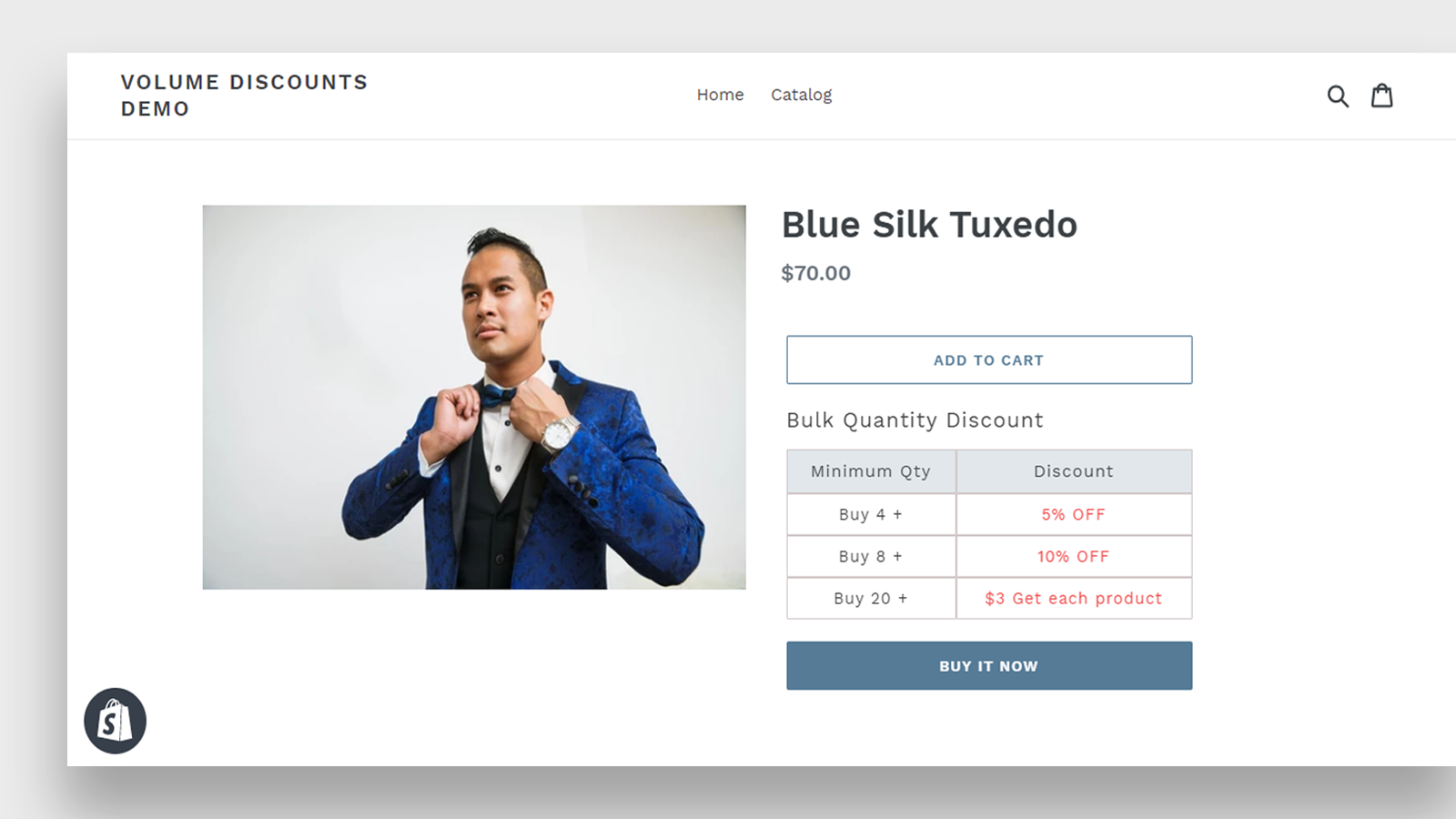 amigo volume discount on product page