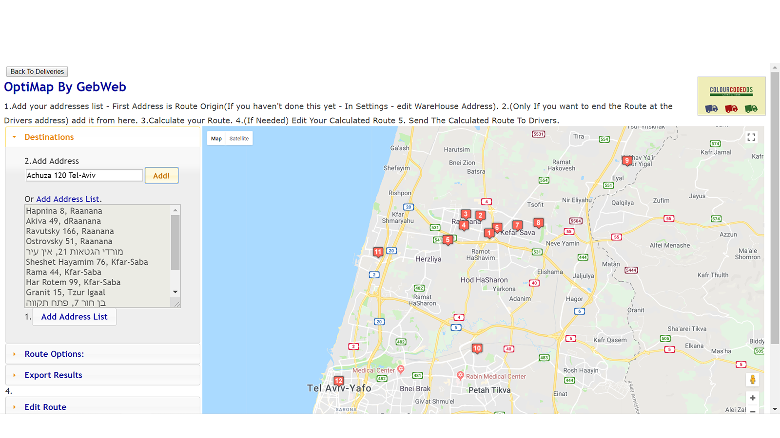 Map view - watch routes or single deliveries with map tool.