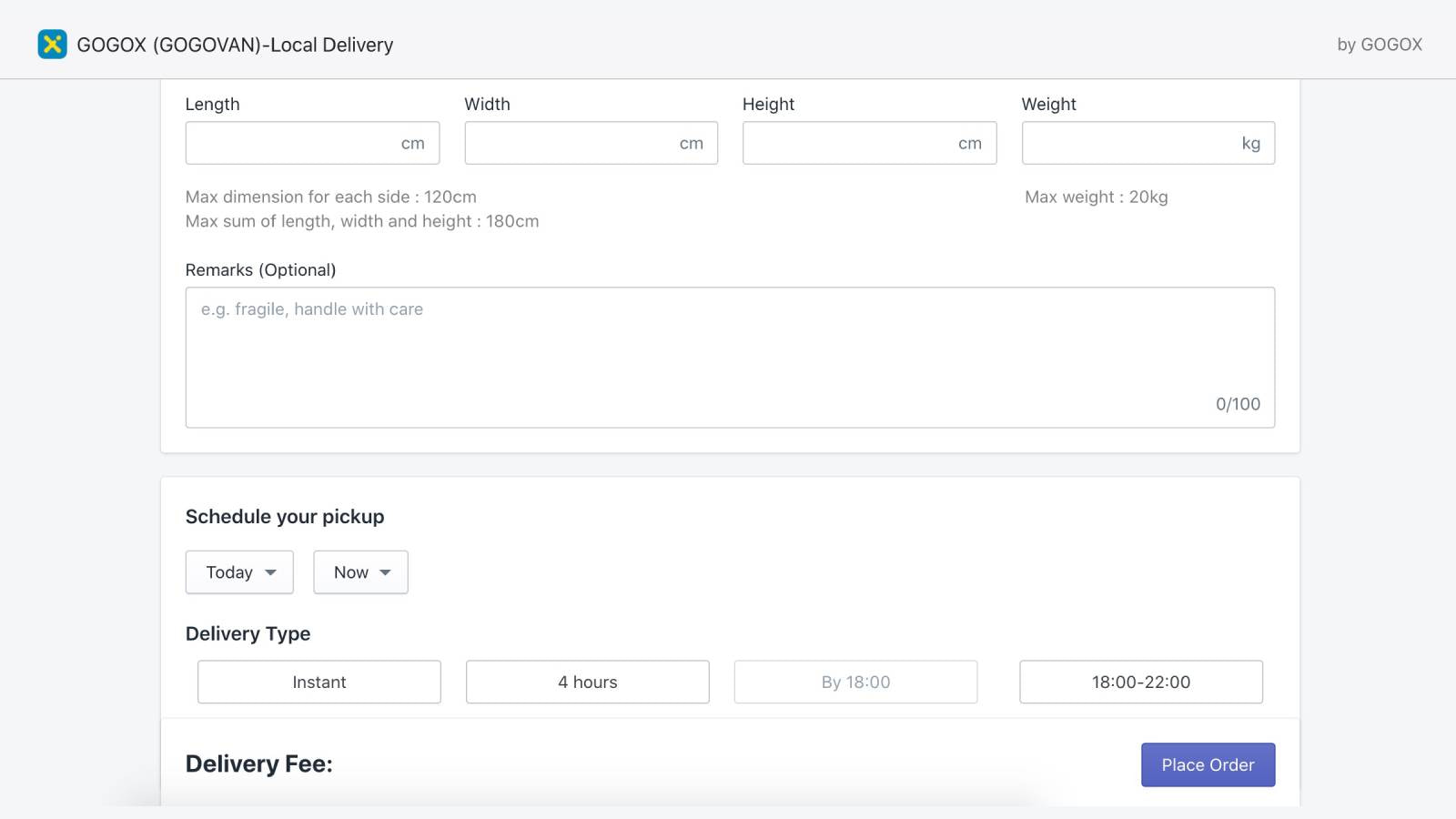 Fill in the details, get fee estimation before placing an order