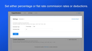 Percentage or flat rate commissions per vendor and product/sku
