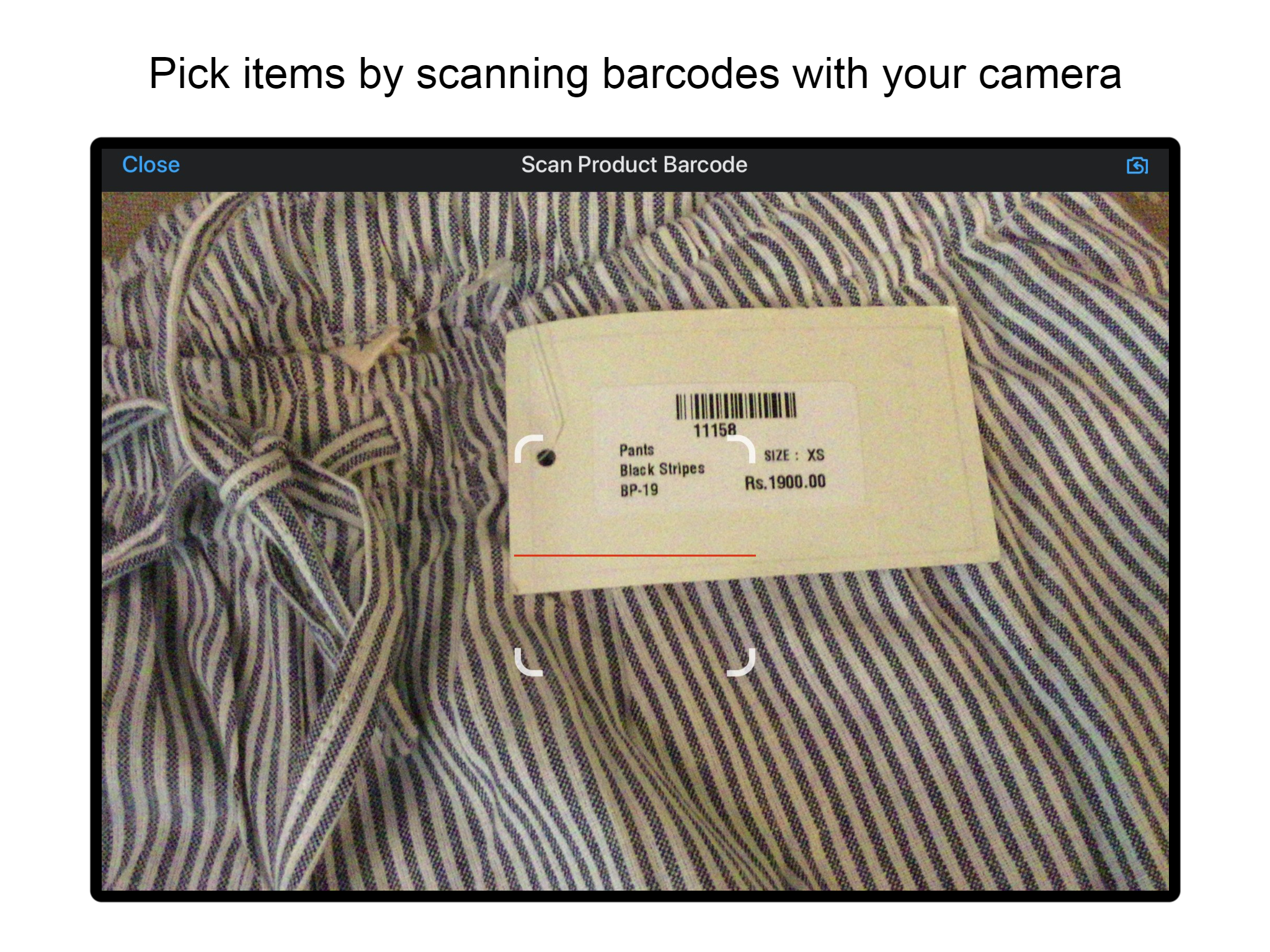 Scan barcodes with your camera and pack orders