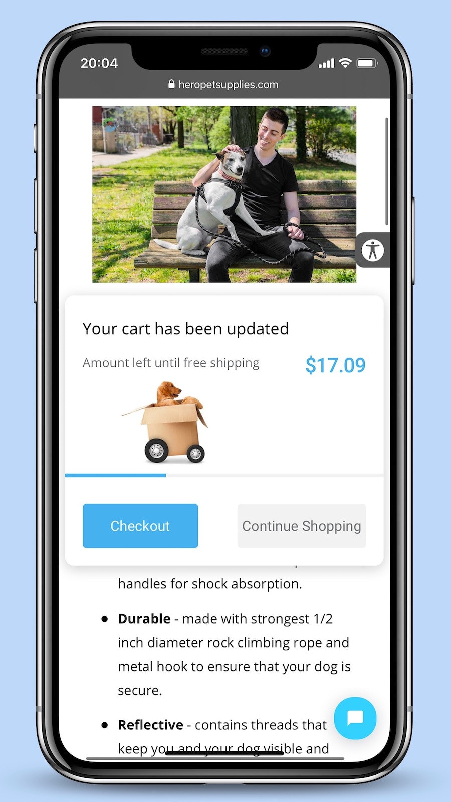 Free Shipping Popup – Custom popup and image on website (Mobile)