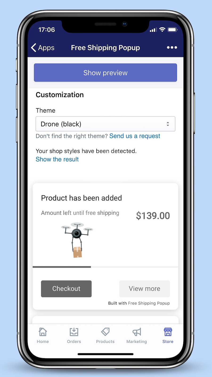 Free Shipping Popup – Admin area (Mobile)