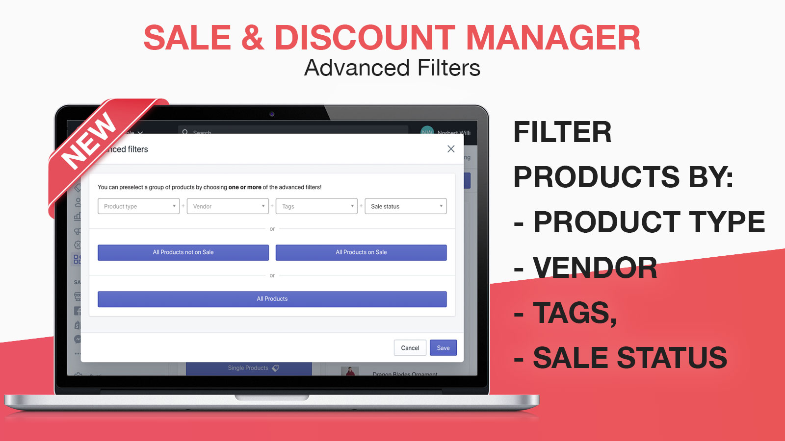 advanced product filtering - filter by tags, vendors, type