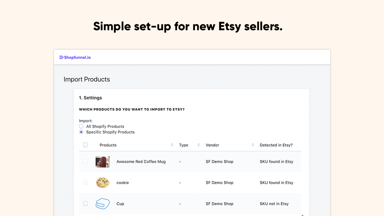 shopify etsy import feature for easy setup