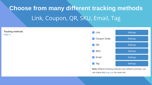 Multiple tracking methods: Link, Coupon, QR, SKU, Email, Tag